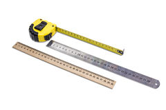 Tape measure and two ruler Royalty Free Stock Images
