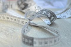 Tape measure white and gray stock photography