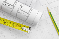 Tape measure and work tool, pencil Stock Photography