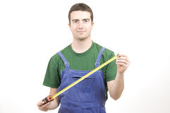 Tape measure worker Stock Photo