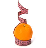 Tape measure wrapped around the orange Royalty Free Stock Image