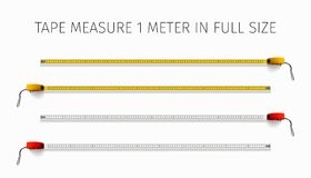 Free Tape Measure. Yellow And Red Roulette 1 Meter In Real Size Stock Images - 119596404