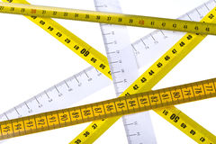 Tape measures cross Stock Photography