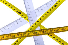 Tape measures cross Stock Images