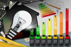 Energy Efficiency Rating - House with Light Bulb stock illustration