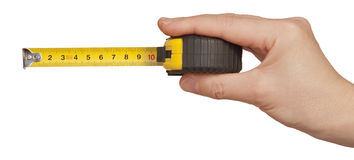 Tape measuring in hand Royalty Free Stock Photos