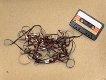 Tape mess. Fashioned old walkman ribbon  recorder Stock Photos