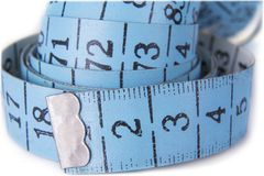 The tape meter closeup on the white background. royalty free stock images