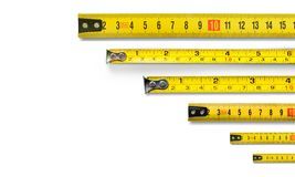 Tape metrics. Ruler meter rule long closeup isolated Stock Photo
