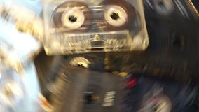 Tape player retro cassettes audio. Rotating stock footage