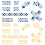 Tape pointed pattern - blue and yellow. Blue and yellow colored tape with pointed pattern Stock Photo