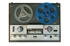 Tape recorder. Old tape recorder isolated on white Royalty Free Stock Photos