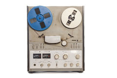 Tape recorder. Obsolete tape recorder with two bobbins on white background royalty free stock photos