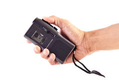 Tape Recorder. Hand Holding a Tape Recorder Royalty Free Stock Image