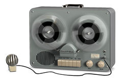 Tape Recorder. Retro reel to reel tape recorder on a white background Royalty Free Stock Photography