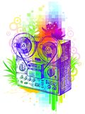 Tape recorder. Vector hand drawn tape recorder Stock Image