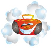 Tape recorder. Funny orange tape recorder smiling Stock Images