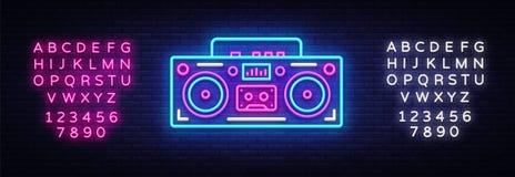 Tape recorder neon signboard vector. Retro Music neon glowing symbol, Retro Style 80-90s Light Banner, neon icon, design. Element. Vector illustration. Editing royalty free illustration