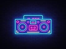 Tape recorder neon signboard vector. Retro Music neon glowing symbol, Retro Style 80-90s Light Banner, neon icon, design. Element. Vector illustration royalty free illustration