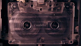 Tape Recorder. An old audio cassette tape stock footage