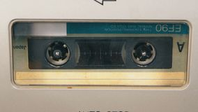 Tape Recorder Plays Audio Cassette inserted therein. Vintage Audio Tape stock video footage