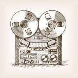 Tape recorder sketch style vector illustration Stock Photography