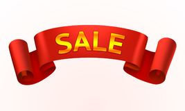 Tape red text sale on the white background. Stock Image