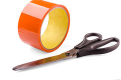 Tape and scissors Stock Image