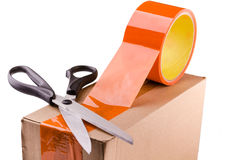 Tape and scissors Stock Photos