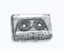 Tape. Sketch of hand drawn music tape Stock Illustration