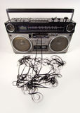 Tape spewing boombox royalty free stock images
