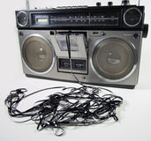 Tape spewing boombox stock images