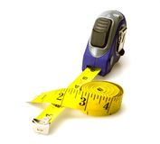 Tape and Tape Measure. Yellow Tape Measure and a yellow tape measure Royalty Free Stock Image
