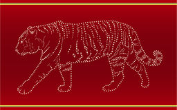 Tape with a tiger. Red tape with a tiger stock illustration