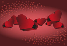 Tape volume of red hearts on a red background Stock Photography