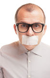 Taped mouth Royalty Free Stock Image