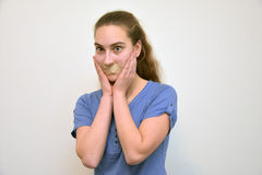 Taped mouth Royalty Free Stock Photo