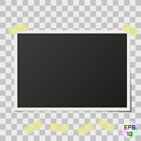 Taped old photo frame. Realistic vintage photography with adhesive strips Royalty Free Stock Photography