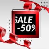 Tapel dorato rosso di vendita dell'insegna di lusso finale del manifesto 50%, illustrazione di vettore immagine stock libera da diritti