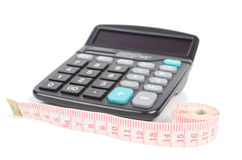Tapeline and calculator Royalty Free Stock Images