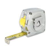 Tapemeasure van het chroom op wit met weg Royalty-vrije Stock Afbeeldingen