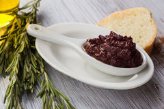 Tapenade. Appetizer from olives. Royalty Free Stock Image