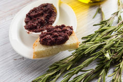 Tapenade. Appetizer from olives. Royalty Free Stock Photo