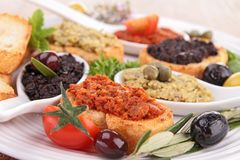 Tapenade and toast Royalty Free Stock Photography