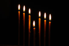 Taper. Row of candles Stock Photo