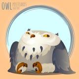 Tapered grey owl, vector cartoon series Stock Photography