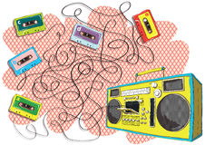 Tapes and Boom-box Maze Game Royalty Free Stock Images