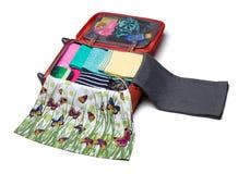 Étapes des valises d'emballage Photo stock