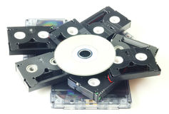 Tapes and DVD isolated Royalty Free Stock Photo