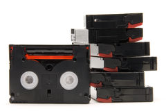 Tapes stack. Mini dv tapes stack isolated in white royalty free stock photography